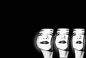 Triple Abstract Face of Young Woman