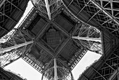 Underneath Base of Eiffel Tower, Low Angle View, Paris, France