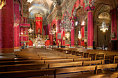 Interior Of The Saint-Michel Archange Basilica With Its Red Wall Hangings, Menton, Alpes-Maritimes (06), France