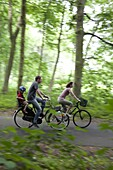 Cycling With The Family On The Bike Path Along The Paris-Mont Saint Michel Route, Chartres (28), Eure-Et-Loir, France