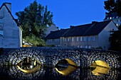 The Lit Up Les Minimes Bridge On The Banks Of The Eure In The Lower Town, Chartres In Lights, Chartres, Eure-Et-Loir, France