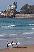 Surfers On The Cote Des Basques Beach, Biarritz, Basque Country, Pyrenees-Atlantiques (64), Aquitaine, France