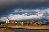 Old Traditional Farms Of Peat With Grass-Covered Roofs, Transformed Into An Ecomuseum, Glaumbaer, Northern Iceland, Europe