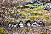 Reproduction In Miniature Of Old Farms Of Peat With Grass-Covered Roofs, Western Iceland, Europe