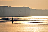 Fisher Near The Cliffs Of Ault At Sunset, Bay Of Somme, Somme (80), France