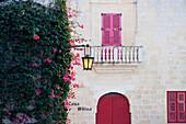 Windows And Street Lamp At Dusk, Mdina, Malta