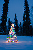 Lit Christmas Tree In Snow Outside During Winter At Twilight In Fairbanks, Alaska