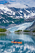 Family Kayaking In Shoup Bay With Shoup Glacier In The Background, Prince William Sound, Southcentral Alaska