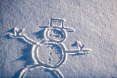 Drawing Of Snowman In New Fresh Snow Alaska Winter