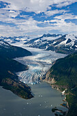 Aerial View Of Mendenhall Glacier Winding Its Way Down From The Juneau Icefield To Mendenhall Lake In Tongass National Forest Near Juneau, Alaska