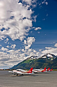 Small Planes Parked On The Tarmac At The Haines Airport, Haines, Southeast Alaska, Summer