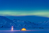 'Northern Lights Glow In The Sky Above A Backpacking Tent And Lit Christmas Tree At Twilight Alaska Range In The Distance In Winter Isabel Pass Richardson Highway Interior Alaska; Anchorage Alaska United States Of America'
