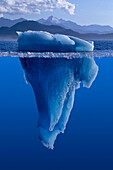 View Of An Iceberg Above And Below The Surface Of The Water
