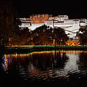 'China, Xizang, Potala Palace at night; Lhasa'