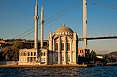 'Turkey, View Of Ortakoy Mosque On Bosphorus River; Istanbul'