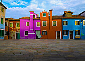 'Italy, Colorful Apartment Buildings; Venice'