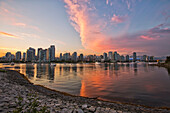 'Sunset Over False Creek And City Skyline;Vancouver British Columbia Canada'