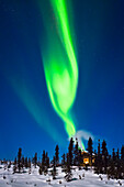 Aurora over cabin in the White Mountain recreation area during Winter in Interior Alaska