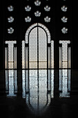 'Morocco, Ornate Wall In Hassan Ii Mosque With Reflection On Shiny Floor; Casablanca'
