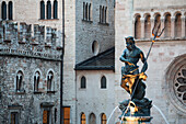 'Italy, Trentino, Neptune Fountain And Stone Walls Of Cathedral And Palace In Background; Trento, Cathedral Square'