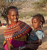 'Kenya, Woman And Her Daughter From Samburu Tribe; Samburu National Reserve'
