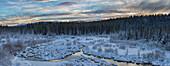 'Panoramic Of Mcintyre Creek At Sunrise;Whitehorse Yukon Canada'