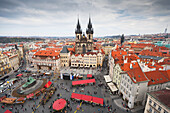 'Czech Republic, High Angle View Of Buildings And Church With Market In Town Square; Prague'
