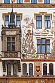 'Czech Republic, Ornate Facade Of Building; Prague'