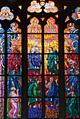 'Czech Republic, Colorful Stained Glass Windows With Depiction Of Religious Figures; Prague'