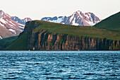 Palisade Cliffs on the Alaska Peninsula in Ikatan Bay near False Pass, Southwest Alaska, summer.