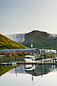 Commercial fishing boats moored in the King Cove harbor, King Cove, Alaska Peninsula, Southwest Alaska, summer.