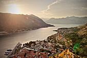 View of the old town and bay of Kotor, Adriatic coastline, Montenegro, Western Balkan, Europe, UNESCO