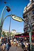 Entrance to city metro, Paris, France