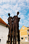 Statue Five organic perils outside old synagogue in Jewish quarter, Maribor, Slovenia