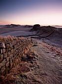 Looking Along Hadrian's Wall Shortly Before Dawn, At Cuddy's Crags Near Housesteads, Northumberland, England.&#Xd, &#Xa, © Ian Cumming / Axiom