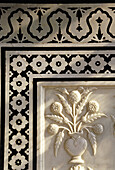 India, Rajasthan, Detail of marble inlay work in palace room, Amber Fort