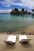 French Polynesia, Society Islands, Deck chairs on promenade, Moorea