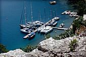 Turkey, Gokava Gulf, Moored boats, Karacasu