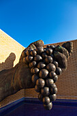 Sculpture of hand with grapes, La Rioja, Spain