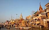 Rowing boats on Ganges River, Varanasi, India