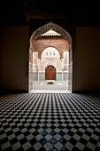 Looking into courtyard of Medersa El-Attarine in medina, Fez, Morocco