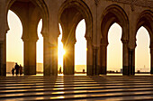 Archways of Hassan II Mosque at dusk, Casablanca, Morocco