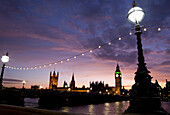 View of Big Ben and Houses of Parliament at dusk, Westminster, London, England, UK