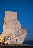 View of Monument to the Discoveries at dusk, Belem, Lisbon, Portugal