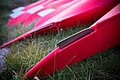 Kayaks on shoreline, Ilulissat, Greenland
