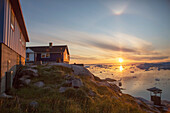 Colorful houses and Icefjord, Ilulissat, Greenland