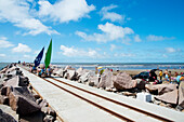 Dosfotos, Outdoors, Day, Elevated View, Unrecognizable Person, Large Group Of People, Summer, Cloud, Non Urban Scene, Rock Formation, Horizon Over Water, Sand, Beach, Brazil, Casino Beach, Praia Do Cassino, Rio Grande Do Sul, Sail, Sunny, Rail, Track, Ope