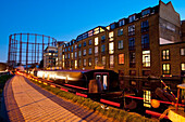 Dosfotos, nobody, Outdoors, Night, Dusk, Illuminated, Building Exterior, Canal, Hackney, London, UK, Regents Canal, Boat, Floating On Water, Nobody, Open Air, Outside, Exterior, Exteriors, Night Time, Nighttime, Illumination, Lighting, Lit Up, Greater Lon