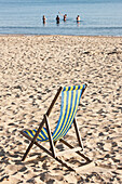 Paul, Quayle, Outdoors, Day, Incidental People, Relaxation, Sunlight, Non Urban Scene, Idyllic, Tranquility, Sea, Sand, Beach, Vacations, Travel Destinations, Absence, Simplicity, Bournemouth Beach, Bournemouth, Dorset, England, Deck Chair, Striped, Open