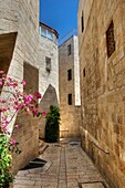 Jewish Quarter, Jerusalem, Israel, Stone Alleyway In Walled City